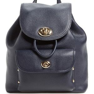 COACH Pebble Leather Mini Turnlock Navy Backpack